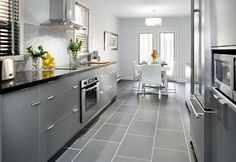 Grey, Black, & White Kitchen.  Love these colors!