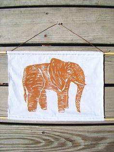 Laura Frisk | Orange Elephant Woodblock Print