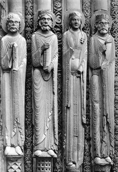 Jamb Figures, West portals. Charles Cathedral. Chartres France. 1140-1150 CE. Gothic, One thing I liked about this figures is that they are so close together, but presumed to be carved by different artists. They wee all able to achieve a similar realistic look. The detail carved in the robes to look like flowing fabrics is my favorite part of this piece.