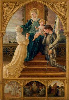 """Elisabeth Sonrel (French, 1874 - 1953), """"Vierge À L'enfant, Entre Sainte Geneviève Et Jeanne D'arc"""""""