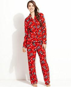 Mickey & Minnie Mouse Notch Collar Top and Pajama Pants Set