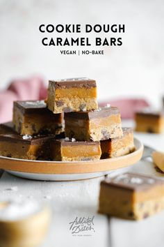 25 minutes · Vegetarian Gluten free · Serves 16 · This entirely vegan caramel slice is made using as wholesome as possible ingredients. With a homemade cashew caramel and cookie dough, these bars are gluten-free and easy to make! Vegan Caramel Slice, Caramel Bars, Vegan Baking Recipes, Vegan Desserts, Dessert Recipes, Cookie Dough Bars, Vegan Cookie Dough, Best Vegan Cookies, Dairy Free Chocolate
