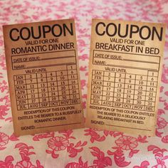 Treat that special someone to some awesome vintage coupons this Valentine's day, like One Romantic Dinner or Breakfast in Bed. Very sweet :)