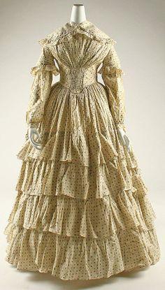 Polka-dotted dress, British, 1850.