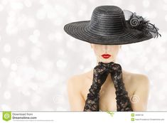 Woman In Hat And Gloves, Fashion Model Beauty Portrait, Girl Hidden Face, Red Lips - Download From Over 57 Million High Quality Stock Photos, Images, Vectors. Sign up for FREE today. Image: 49995135
