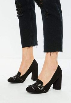 Missguided Black Studded Square Toe Pumps