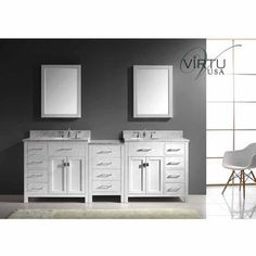 "Virtu 93"" Caroline Parkway Double Round Sink Bathroom Vanity in White with Italian Carrara White Marble (Includes Cabinet, Sink, & Mirror)"