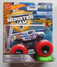 2018 Hot Wheels Monster Jam Ice Cream Man Truck w/ crush car Buick Cars, Buick Gmc, Black Wheels, Hot Wheels, Gmc Trucks, Pickup Trucks, Monster Jam, Monster Trucks, Ice Cream Man