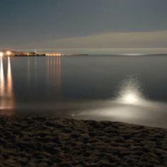 My sea at night! (Sicily)  #sea #night #beach #moon #reflection