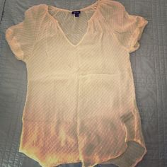 Sheer Cream Ella Moss Top Worn only a hand full of times. This top is super cute in the summer with some patterned shorts! It's breathable and oh so comfortable! Look fab while feeling fresh!! Ella Moss Tops Blouses