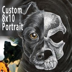 Custom Pet Skull Portrait - 8x10 Canvas