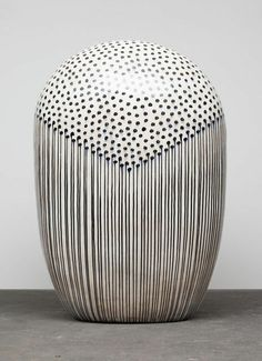 Piercing and stained in holes: Jun Kaneko: Black & White at Bentley Gallery,. Glass Ceramic, Ceramic Pottery, Pottery Art, Pottery Ideas, Abstract Sculpture, Sculpture Art, Nebraska, Art Public, Clay Vase