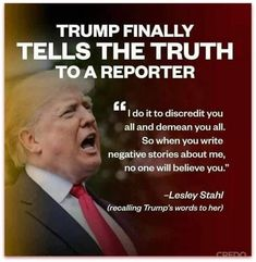 """Trump finally tells the truth to a reporter, Lesley Stahl : """"I do it to discredit you all. So when you write negative stories about me, no one will believe you. Caricatures, Political Views, Political Quotes, Political Cartoons, Republican Party, Thats The Way, Tell The Truth, Way Of Life, Presidents"""