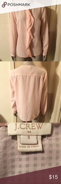 🌸J. Crew Cascade Ruffle Blouse🌸 J. Crew Cascade Ruffle Blouse Brand new never wore! This blouse has been so popular it has sold out!  -poly -Long sleeves -Machine wash -online Exclusive  -Import -Item E0905 J. Crew Tops Blouses