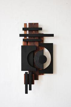 TILDE GRYNNERUP Geometric Shapes Art, Geometric Sculpture, Abstract Sculpture, Wood Sculpture, Modern Wall Sculptures, Diy Wall Art, Wood Wall Art, Bauhaus Textiles, Reclaimed Wood Art