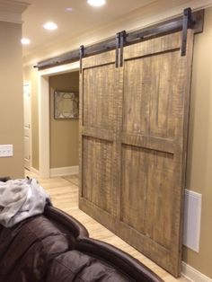 Custom Pine Barn Door. (Large Single Doors that looks like a double door) www.europeanantiquepine.com