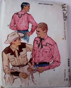 Vintage 1950s McCalls 2366 Mens Western Shirt by Denisecraft, $15.99