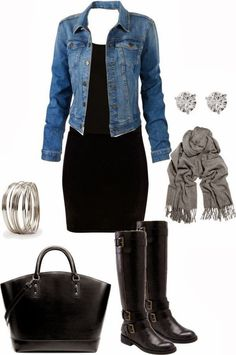 Adorable fall fashion combination with denim jacket