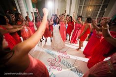 Custom dance floor decal by I Do Linens at Biltmore Ballrooms wedding reception