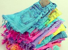 denim shorts in alllllll the colors