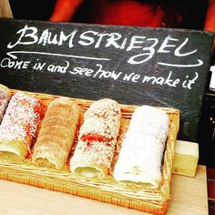 Fresh and deliciously smelling Baumstriezel (from the family of Baumkuchen, split cake) in the street of Rüdesheim will make you stop at least for a picture. The dough is wrapped around a truncated cone–shaped baking spit, and then rolled in granulated sugar. #travel #food