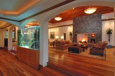 Gorgeous wooden floors, fireplace, fishtank.  Fabulous!
