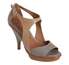 Leifsdottir  quarry and camel leather 'Ilona' wedge heels