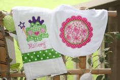 Monogrammed Baby Girl Bib and Burp Cloth Set New by SixIsEnough, $13.00