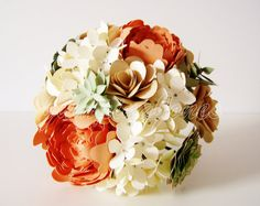Paper Succulent and Flower Bouquet  FREE Grooms by JumpingJones, $95.00
