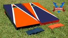 Cornhole Boards Orange & Navy Blue Alt Triangle Corn Hole Game Set via Etsy