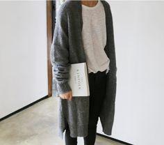 Kinfolk | white linen shirt | grey long cardigan