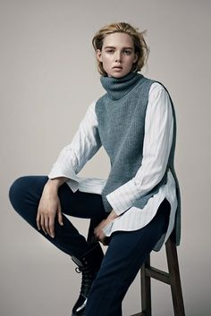 Vogue UK September 2014 issue ~ Inspiration for this lovely vest/tabbard layered over the shirt