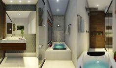 Banheiro com banheira.  Projeto e maquete - Suzana Ganem