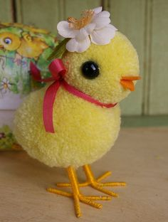 Little Pom Pom Chick by MykoBocekStudios Bird Crafts, Easter Crafts, Pom Pom Animals, How To Make A Pom Pom, Pom Pom Crafts, Easter Celebration, Vintage Easter, Craft Gifts, Handmade Crafts