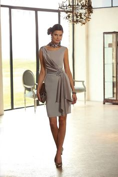 Wishesbridal Simple Scoop Knee Length Brown #Chiffon Sheath Column #MotherOfTheBrideDress B2lr0018