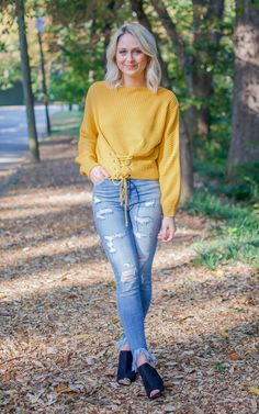 9312ba1147 Mustard Waist Front Lace Up Sweater