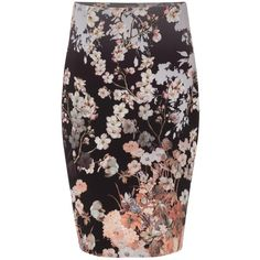 Phase Eight Kyoto Floral Skirt, Black/Multi ($100) ❤ liked on Polyvore featuring skirts, floral knee length skirt, floral-print pencil skirts, layered skirt, flower print pencil skirt and pencil skirt