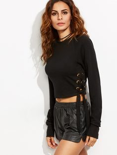 17$  Watch here - http://diah7.justgood.pw/go.php?t=5364 - Black Tie Side Long Sleeve Crop Sweatshirt 17$