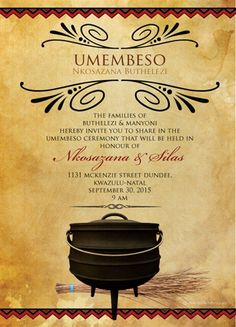 South African Traditional wedding invitation Card, Umembeso Card