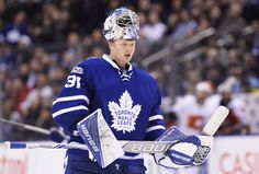 Toronto Maple Leafs goalie Frederik Andersen (31) skates during a break in third period NHL hockey action against the Calgary Flames in Toronto on Monday, Jan. 23, 2017. (Nathan Denette/The Canadian Press via AP)