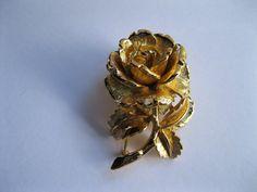 Napier Goldtone Rose Brooch Pin Vintage by GotMilkGlassAndMore, $9.88