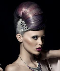 Long Silver straight coloured multi-tonal updo sculptured beehive womens hairstyles for women