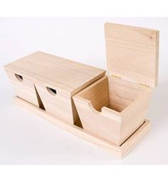 Plaid ® Wood Surfaces - 3 Piece Box Set with Tray. Plaid Wood Surfaces are ready to paint, stain, decoupage, woodburn or embellish. Create a groovy project or show your allegiance with this high quality, smooth finish wooden shape.