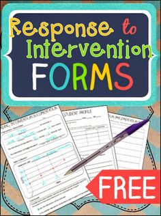 FREE response to intervention forms and how to use them