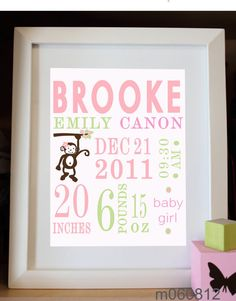 Custom Personalized Nursery Wall Print 8x10 Birth by alovelydetail, $18.00
