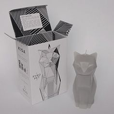 Grey Kisa and packaging - PyroPet Candle Company