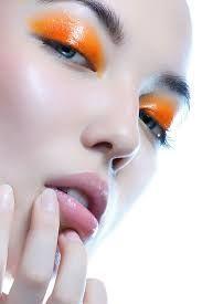 Image result for orange glossy lid makeup