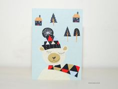 Say  a cherry hello with this Holiday bear greeting card  designed by Susse.