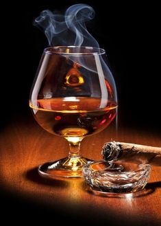 Cognac with a nice Cuban Cigar. Good Cigars, Cigars And Whiskey, Scotch Whiskey, Barris, Art Of Manliness, Cigar Bar, Cigar Room, Pipes And Cigars, Cigar Smoking