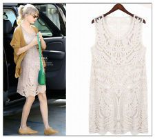 Celebrity Style VTG Hippie Sheer Crochet Floral Lace Embroidered Festival Dress